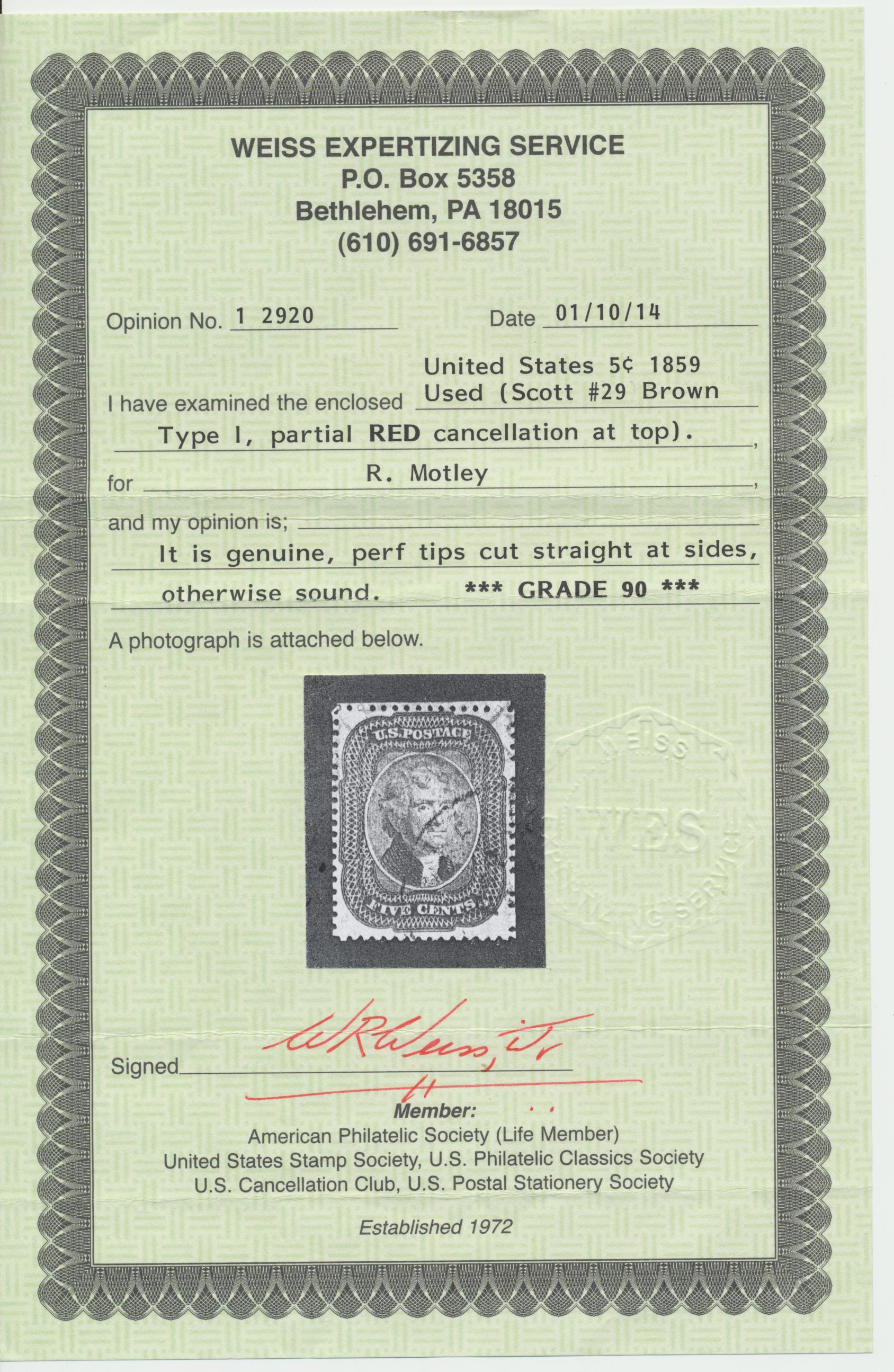 29 used 1859 5Â brown type i with 2014 weiss graded 90 certificate